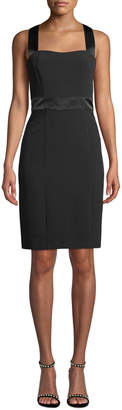 Karl Lagerfeld Paris Square-Neck Satin-Trim Sleeveless Sheath Dress