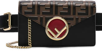 Fendi Logo Embossed Hip Belt in Black & Brown | FWRD