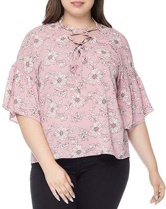 Bobeau B Collection by Curvy Willa Printed Lace-Up Blouse