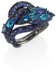 Gucci Le Marche Des Merveilles Blue Topaz, Sapphire& 18K White Gold Ring