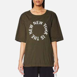 DKNY Women's Short Sleeve Logo Shirt with Side Slits and Drawcords
