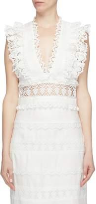 Zimmermann 'Wayfarer' lace trim cropped linen V-neck top