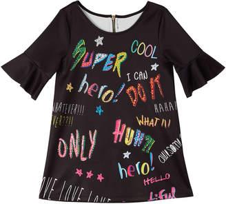Hannah Banana Bell-Sleeve Graffiti-Print Scuba Dress Size 7-14