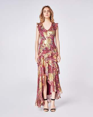 Nicole Miller Abstract Sequin Hi-low Gown