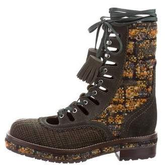 Chanel Tweed Combat Boots