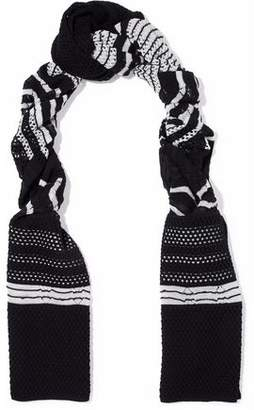 M Missoni Striped Open And Crochet-Knit Wool-Blend Scarf