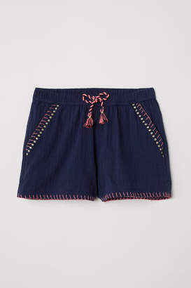 H&M Shorts with Embroidery - Blue