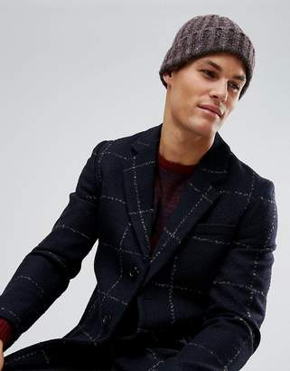 Asos DESIGN Fisherman Beanie In Purple And Gray Mix