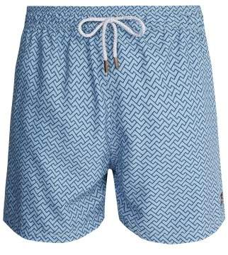 Retromarine - Zigzag Print Swim Shorts - Mens - Blue