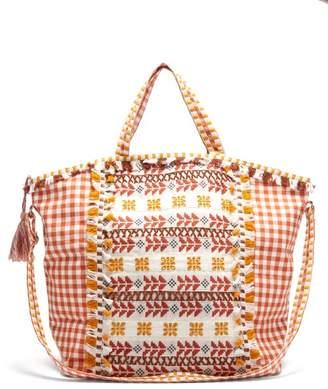 Dodo Bar Or Oana Gingham Jacquard Cotton Beach Bag - Womens - Brown Multi