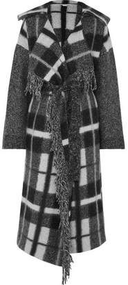 Stella McCartney Hooded Checked Wool-blend Coat - Gray