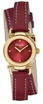 Salvatore Ferragamo Casual Stainless Steel Leather Double Wrap Strap Watch