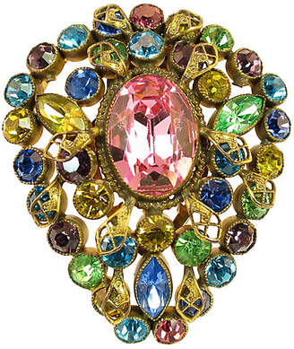 One Kings Lane Vintage Edwardian Czech Jewel-Tone Clip Brooch - Neil Zevnik