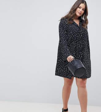 Asos DESIGN Curve Long Sleeve Shirt Mini Dress In Scatter Spot