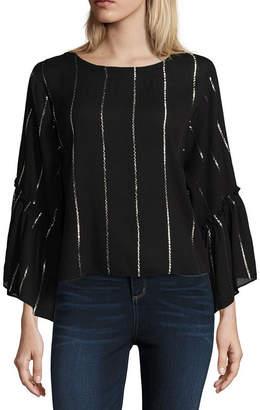 Libby Edelman Pinstripe Lurex Top Long Sleeve Round Neck Woven Blouse