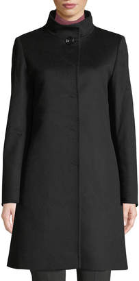 Cinzia Rocca Button-Front Wool-Blend Walking Coat