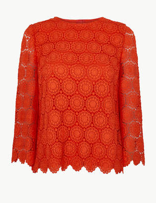 Marks and Spencer Lace Round Neck Long Sleeve Shell Top
