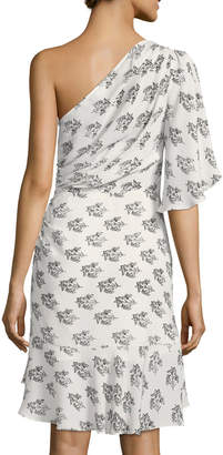 A.L.C. Misha One-Shoulder Ruched Floral-Print Silk Dress