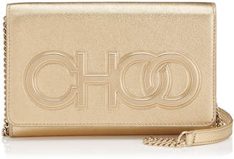 Jimmy Choo SONIA Gold Metallic Nappa Leather Day Bag with Chain Strap