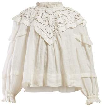 Isabel Marant Geoffrey Lace Panel Insert Linen Blouse - Womens - White