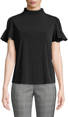 Laundry by Shelli Segal Smocked-Neck Jersey Tee