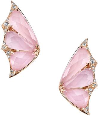 Rose Gold and Diamond Fly By Night Crystal Haze Earrings, One Size
