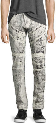 PRPS Demon Exobiology Heavy Painted Moto Slim-Straight Jeans, White