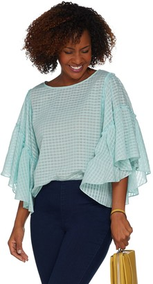 Vince Camuto Textured Grid Drop Shoulder Ruffle Sleeve Sheer Blouse