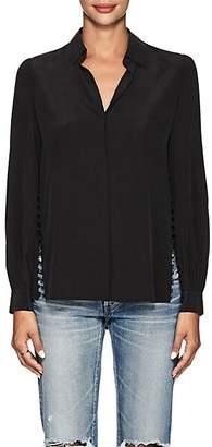 L'Agence Women's Cinzia Washed Silk Blouse - Black