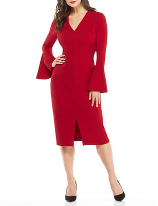 Maggy London Bell-Sleeve V-Neck Sheath Dress
