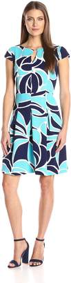 Sandra Darren Women's 1 Pc Cap Sleeve Floral Printed Ottoman Fit and Flare Dress