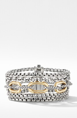 David Yurman Multi-Row Chain Bracelet with 18K Yellow Gold
