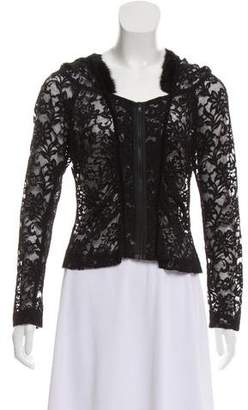 Charles Chang-Lima Fur-Trimmed Lace Top