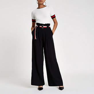River Island Womens Black stripe belt wide leg trousers