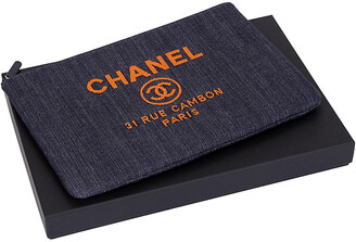 One Kings Lane Vintage Chanel Large Denim Clutch - Vintage Lux