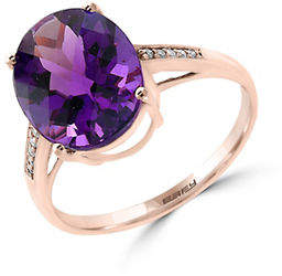 Effy 14K Rose Gold Amethyst Ring with 0.04TCW Diamonds