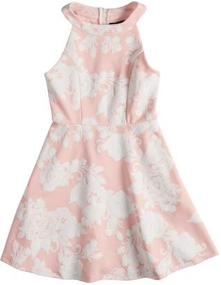 Girls 7-16 Three Pink Hearts Puffy Floral Scuba Dress