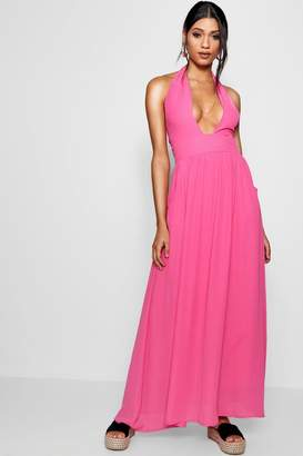 boohoo Plunge Halterneck Maxi Dress
