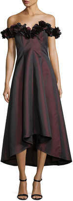 Rickie Freeman For Teri Jon Off-the-Shoulder 3D Floral Evening Gown