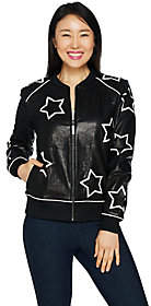 Peace Love World Star Applique Leather Jacketw/ Affirmation
