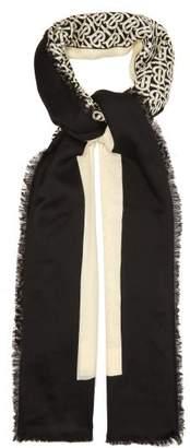 Burberry Tb Monogram Cashmere Faille Scarf - Mens - Black Beige