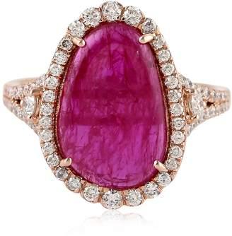 Artisan 18K Ruby Slice Ring With Diamonds