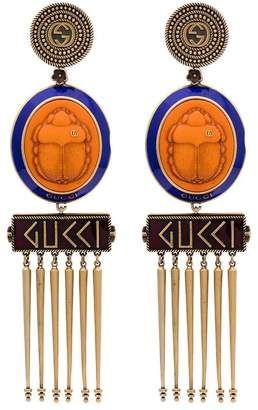 Gucci Beetle Cameo Earrings