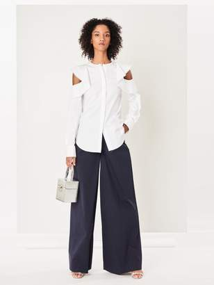 Oscar de la Renta Stretch-Cotton Twill Wide-Leg Pants