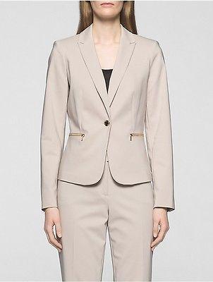 Calvin KleinCalvin Klein Womens Cotton Blend Zip Suit Jacket