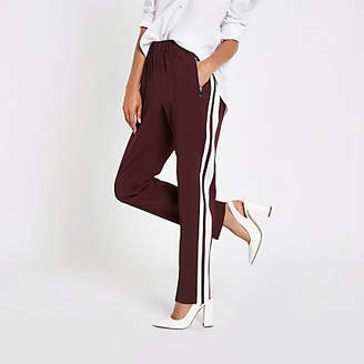 River Island Dark red straight wide leg joggers