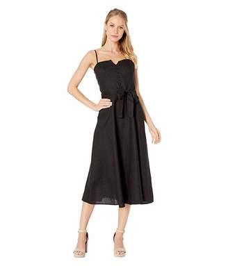 1 STATE 1.STATE Spaghetti Strap Tie Waist Linen Dress
