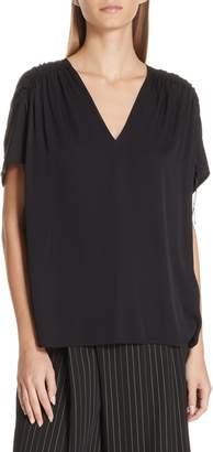 Vince Ruched Shoulder Stretch Silk Blouse
