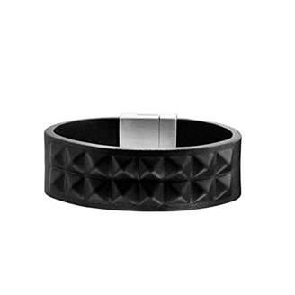 Police Bracelet PJ24411BLB-01 - Black Leather Bracelet - Magnetic closure