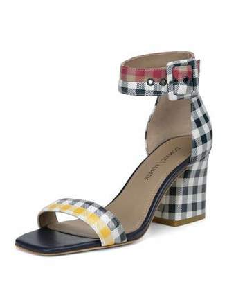 Donald J Pliner Watson Multi-Gingham Block-Heel Sandals